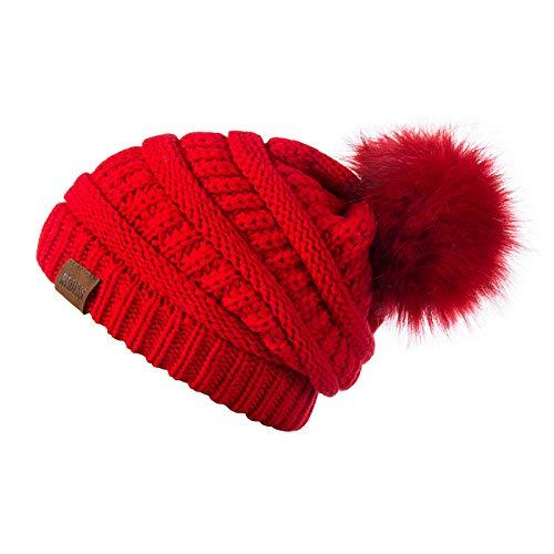 REDESS Women Winter Pom Pom Beanie Hat with Warm Fleece Lined, Red