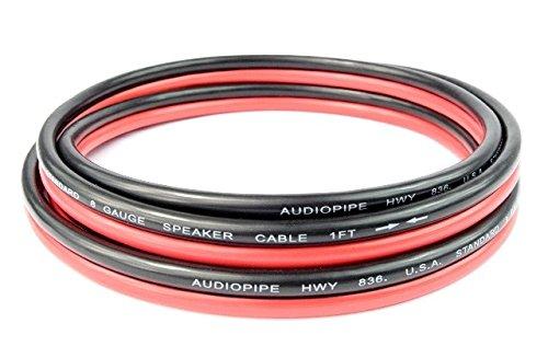 8 Gauge 6 Feet Red Black Speaker Wire Copper Mix Power Ground Car Home Audio