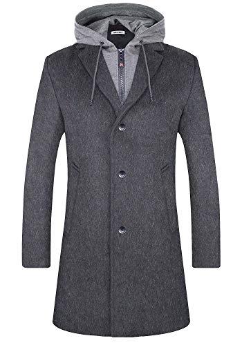 Bojin - Abrigo de invierno para hombre, largo, cálido, ajustado, mezcla de lana Gris gris L