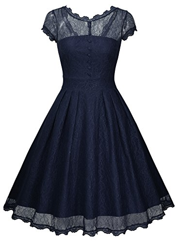Miusol Damen Elegant Spitzenkleid Cocktailkleid Knielanges Vintage 50er Jahr Abendkleid Dunkelblau Gr.M - 2