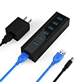K&ZZ USB 3.0 Hub 6 Port 10W Data Hub Powered USB Hub USB Port Expander USB Splitter for Laptop, PC, Mobile HDD, USB Flash Drive, Black