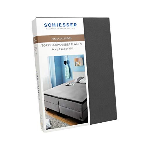 Schiesser Topper-Spannbettlaken Jersey-Elasthan, Baumwolle, Farbe:anthrazit, Größe:180 cm x 200 cm