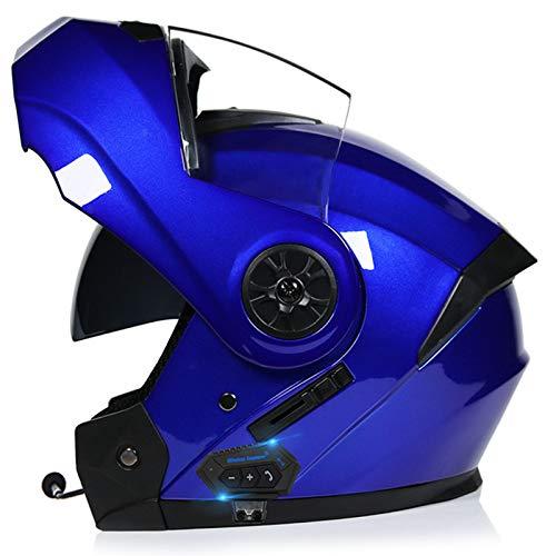 Bluetooth Integrado Modular Casco Moto Integral Para Motocicleta, Personalidad Fresca Casco Con Doble Visera, Para Montar Al Aire Libre Apto Para Cruceros Locomotora F,XL=60~61cm