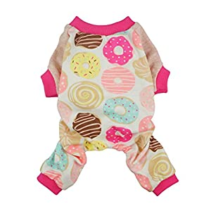 Fitwarm Sweetie Donuts Pet Clothes for Dog Pajamas Soft Cotton Shirts PJS, Pink, XS