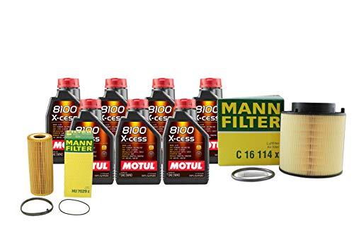 Newparts 7L Motul 8100 X-Cess 5W40 Mann Filter Motor Air Oil Change Kit SQ5 3.0L Super for Audi SQ5 3.0L V6 Supercharged FI CTUD 2014-2017 CTUD, CGQB; VW 502.00/505.00; Supercharged
