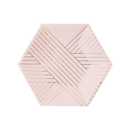Harlow & Grey Amethyst Pale Pink with Rose Gold Striped Small Paper Plates, Pack of 8 - Make celebrating from a distance amazing with disposable Paper Plates