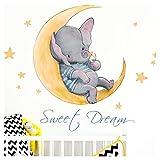 Little Deco Aufkleber Elefant & Spruch Sweet Dream I A4-21 x 29,7 cm I Mond & Sterne Wandbilder Wandtattoo Kinderzimmer Tiere Deko Babyzimmer Junge Kinder DL171