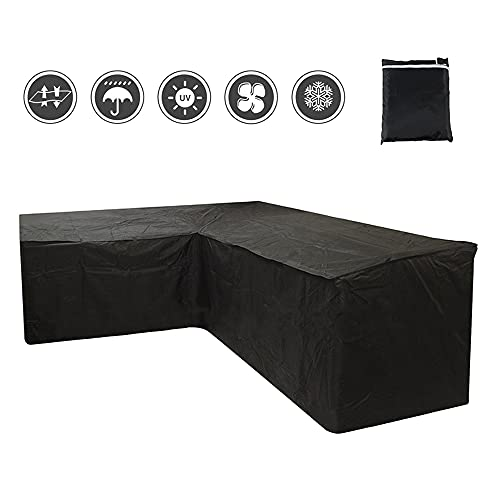 Your's Bath Large L Shaped Garden Furniture Covers Waterproof Windproof Heavy Duty Outdoor Patio Rattan Corner Sofa Cover With Storage Bag 215X215X87cm Black