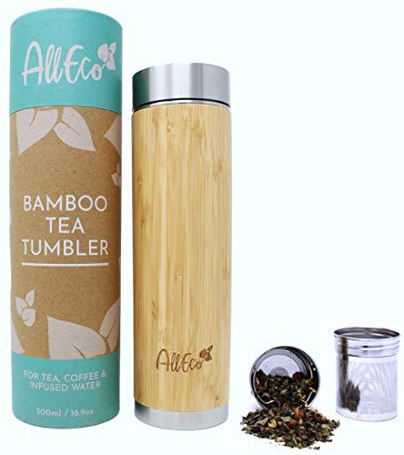 AllEco® Teeflasche mit Sieb to go 500ml Bambus Edelstahl doppelwandig | Teebereiter, Teebecher, Teekanne ideal als Tee Geschenkset | nachhaltig, wiederverwendbar & umweltfreundlich