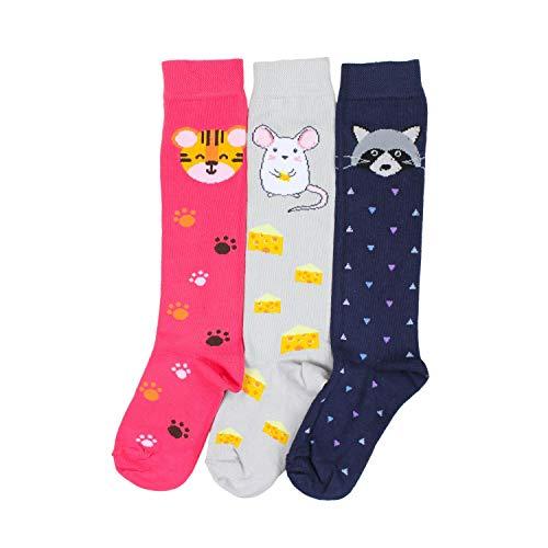 TupTam Mädchen Knielange Socken Gemustert 3er Pack, Farbe: Farbenmix 4, Socken Größe: 23-26