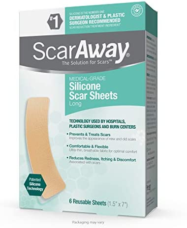 """ScarAway Advanced Skincare Long Silicone Scar Sheets for Hypertrophic Scars and Keloids Caused by Surgery, Injury, Burns, C-Section and More, 1.5"""" x 7"""", 6 Sheets"""