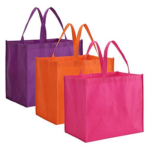 Tosnail Einkaufstaschen, faltbar, wiederverwendbar, groß, Violett, Orange, Dunkelrosa, 12 Stück