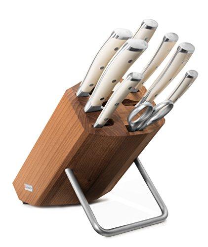 Wüsthof Messerblock 8-teilig, Classic Ikon Crème (9879), Design-Holzblock Buche, Kochmesser-Set weiß, 6 Küchenmesser, Wetzstahl, Schere