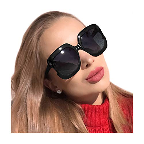MuJaJa Classic Oversized Womens Sunglasses Polarized UV Protection Fashion Large Square Gradient Frame Design Eyewear (Black with Gradient Grey)