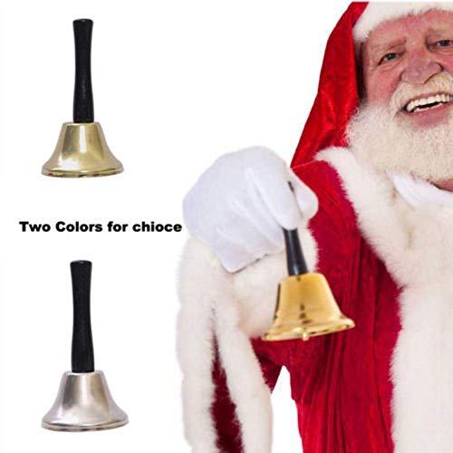 2018 Messing Vergulde Kerst Xmas Kerstman Handklokken Decoratie Vier Feestklokjes, Zilver