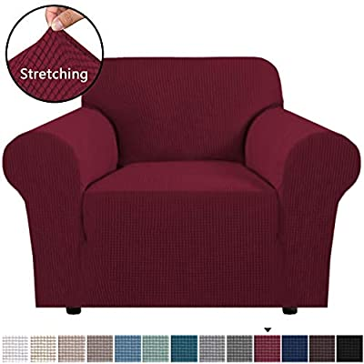 H.VERSAILTEX Stretch Sofa Slipcover 1 Piece Sofa Cover Lycra Jacquard Spandex Couch Cover Machine Washable, One Seater Size