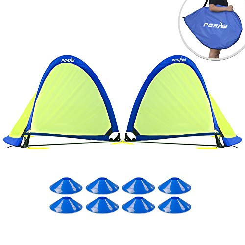 porayhut Pop up Soccer Net Soccer Goal for Kid Easy-up Set of Two Portable 210D Oxford with 8 Field Marker Cones Extra Stakes Fun for Backyard and Soccer Training Net (2.5FT Round Goal Set)