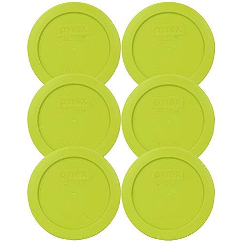 Pyrex 7200-PC 2 Cup Edamame Green Round Plastic Lid (6, Edamame Green)