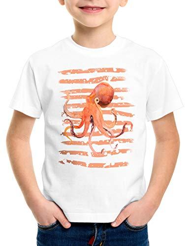 style3 Inked T-Shirt für Kinder oktopus Octopus tintenfisch Strand Urlaub, Größe:128