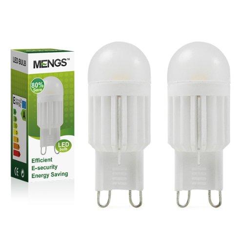 2X MENGS® G9 3W/5W LED Leuchtmittel & Birne lampe Mit Keramik körper (Warmweiß 3000K, AC 220-240V , 360º Abstrahlwinkel) Super energiesparend licht gut für die Wärmeabgabe (3 Watts)