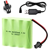 Hootracker 4.8V 2400mAh Ni-MH AA Rechargeable Battery Pack with SM-2P 2Pin Plug and USB Charger Cable for RC Truck Cars Vehicles