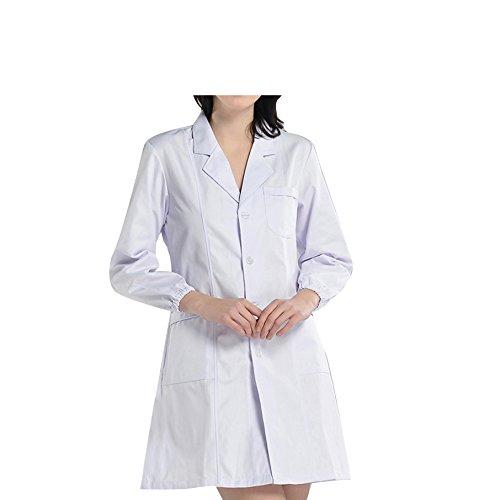 BSTT Mujer Bata de Laboratorio Blanco Uniformes de Trabajo Nueva Mejora Mangas elásticas Delgado XL
