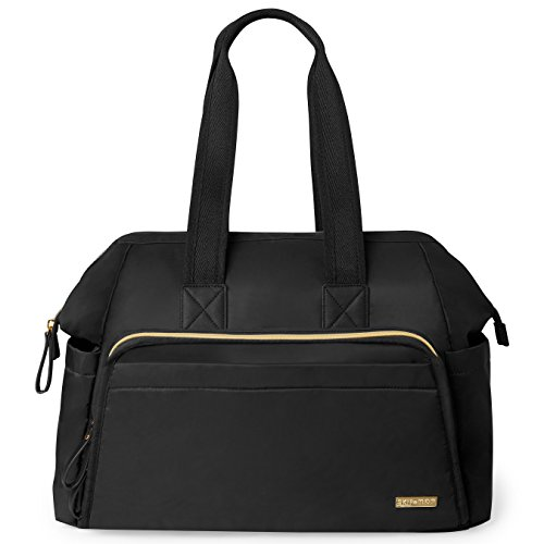 Skip Hop Messenger Diaper Bag, Mainframe Large Capacity Wide Open Structure, Black with Gold Trim