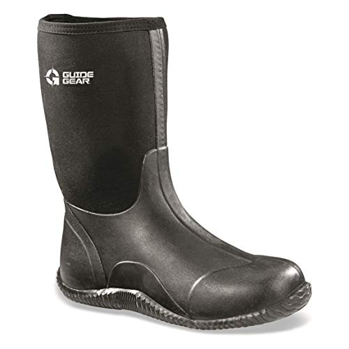 Guide Gear Men's Mid Bogger Waterproof Rubber Boots, Black, Black, 11D (Medium)