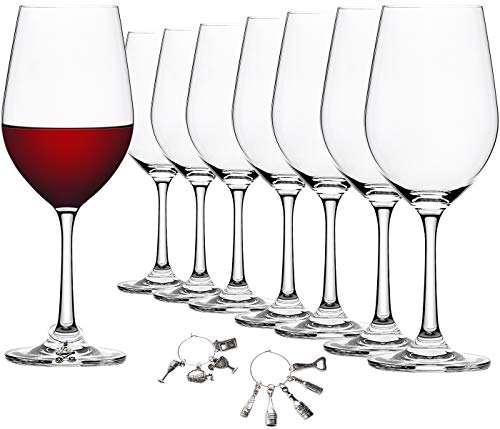 FAWLES Crystal Wine Glasses Set of 8 with 10 Pieces Wine Glass Charms - 16 Ounce Universal Stemmed Clear Wine Glass Set for Red, White, Sparkling Wine
