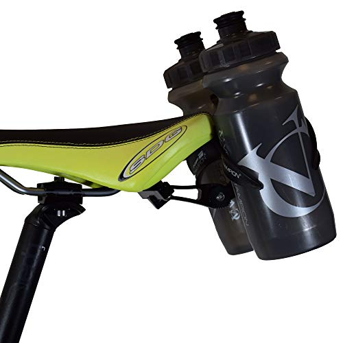 VeloChampion Double Water Bottle Cage Mount - Alloy Black for Cycling Triathlon Bike
