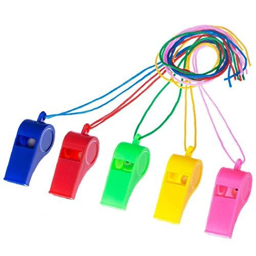 OMMO LEBEINDR 10 Paquetes De Plástico Silbato Edc Deporte Azul Rosa Rojo Amarillo Verde Silbatos De Emergencia Silbido De La Supervivencia