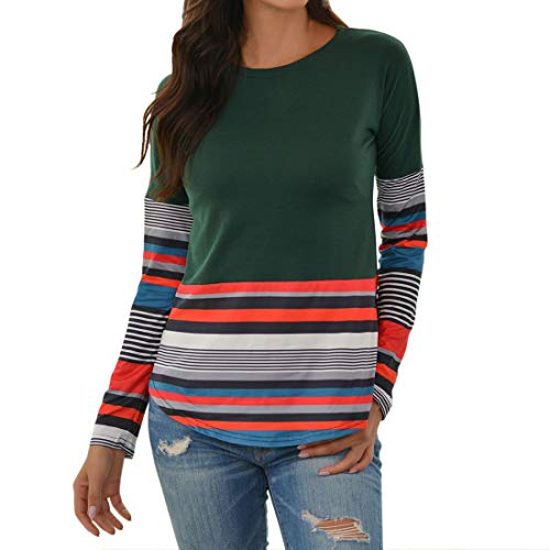 Women T-Shirt Women Tops Elegant Round Neck Stripes Splicing Long Sleeve Slim Women Tops Autumn New Elastic Fabric Comfortable Casual All-Match Chic Women T-Shirt B-Green M
