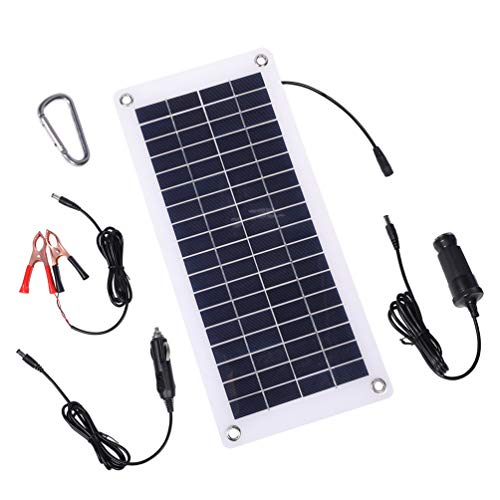 TISHI HERY 18V 12V 12W Solar Battery Charger and Maintainer 12W Portable Flexible Solar Panel Trickle Charger with USB, Cigarette Lighter Plug, Alligator Clip for Motorcycle RV Boat Marine Snowmobile