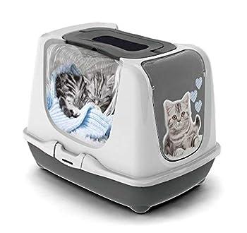 CATS FASHION Maison Toilette pour Chat-BAC LITIERE Chat 50 CM avec SÉRIGRAPHIE Kitty