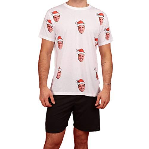 Nifty Gifty Pijama personalizado con cara de Papá Noel   Pijamas cómodos de cara personalizada   Jammies personalizados de polialgodón suave regalos novedad para mujeres y hombres – Añade tu foto