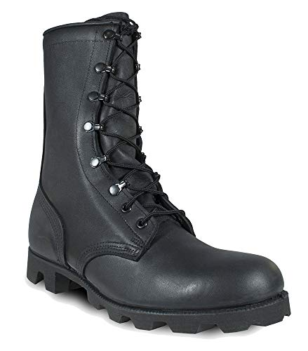 MCRAE Legacy Combat Boot with Panama Sole, Black Leather, 9 Wide