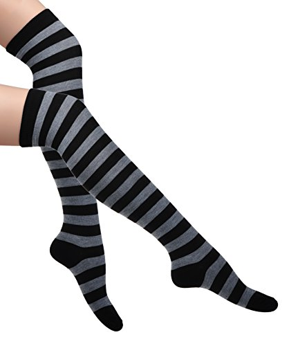Women's Sexy Cotton Extra Long Striped Over Knee-High Socks Opaque Stockings for Christams Halloween Party Daily Life Light Grey Black