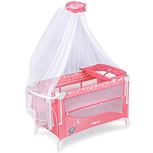 Heyo.Ja Double Layer Baby Genuine Playard Adjustable Chan 5 Charlotte Mall Crib Height