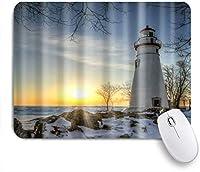 PATINISAマウスパッド 灯台航海海波スノーロック海辺日没の印刷 ゲーミング オフィス最適 高級感 おしゃれ 防水 耐久性が良い 滑り止めゴム底 ゲーミングなど適用 マウス 用ノートブックコンピュータマウスマット