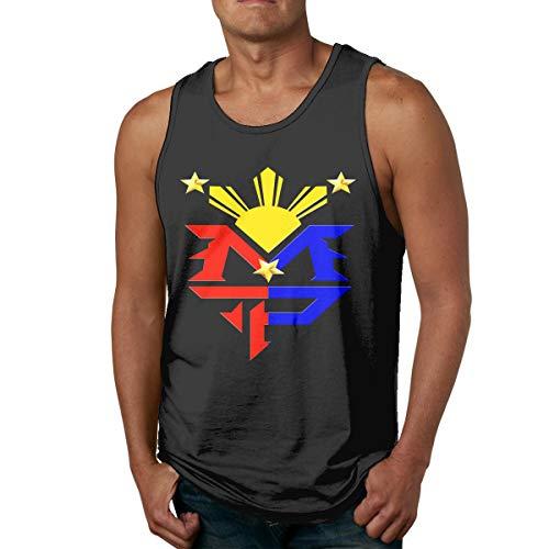 Abigails Home Manny Pacquiao Bandera de Filipinas Símbolo del Sol Camisetas sin Mangas para Hombre Camisetas sin Mangas Camiseta de Deportes de Baloncesto Camisetas Fitness al Aire Libre(XXL,Negro)