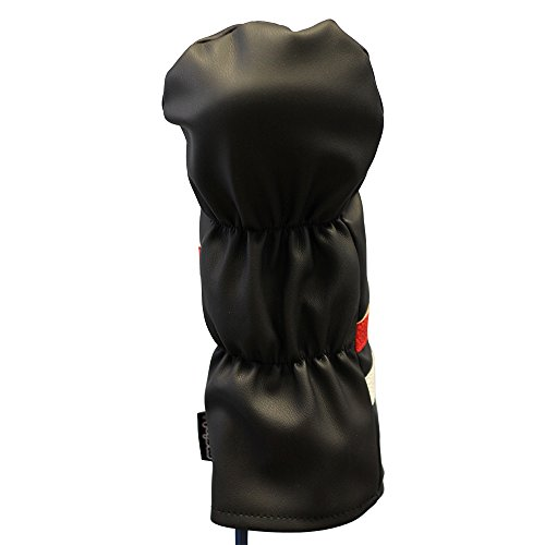 Majek Retro Golf Headcover Black Red and White Vintage Leather Style 1 Driver Head Cover Fits 460cc Drivers Classic Look