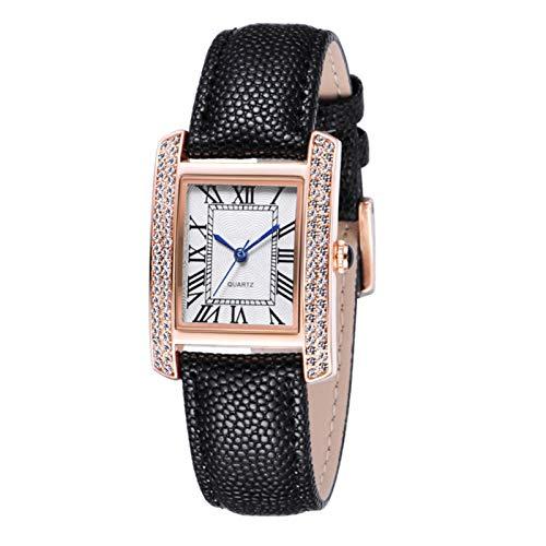 QHG Relojes para Mujer Lady Watch Reloj de muñeca de Moda Chicas Reloj Femenino Vestido Cuarzo Movimiento Rhinestone Strap de Cuero (Color : B)