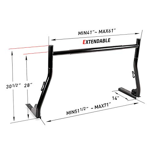 AA-Racks Model X31 800Ibs Capacity Extendable Steel Pick-Up Truck Ladder Rack Two-bar Set - Matte Black