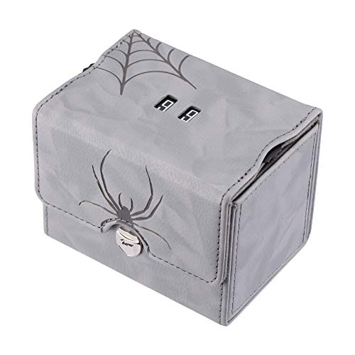Zoopin Leather Deck Box with Built-in Spinning Life Counter,Light Gray for MTG,Yugioh,Pokeman,TES Legacy,Munchkins CCG Decks and Also Small Tokens or Dice- Hold 80 Sleeved Cards or 150 Naked Cards …