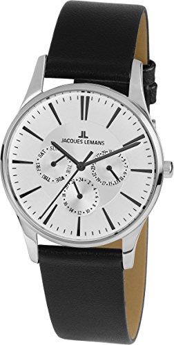 Jacques Lemans Unisex Erwachsene Multi Zifferblatt Quarz Uhr mit Leder Armband 1-1929H