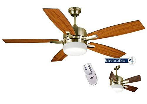 BASTILIPO plafondlamp ventilator met afstandsbediening e27, 60 W, antiek brons, 132 x 45 cm
