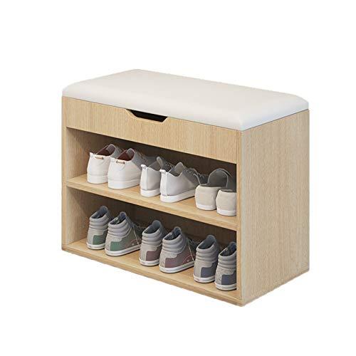Taburete Para Cambiar Zapatos Entrada 3-nivel Organizador de zapatos Estante de almacenamiento de madera con cojín para zapatos Taburete moderno para Bodegón de zapatos de dormitorio Banco De Entrada