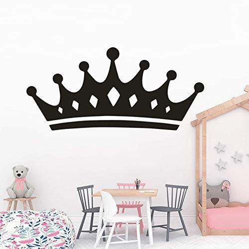 mlpnko Vinilo Adhesivo de Pared Chica Dormitorio Decoración Princesa Reina Corona Pintura de Pared Arte extraíble,CJX11134-55x26cm