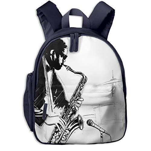 Kinderrucksack Kleinkind Jungen Mädchen Kindergartentasche Man Saxophone Player Mikrofon Backpack Schultasche Rucksack