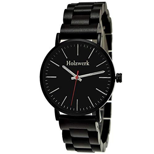 Handgefertigte Flache Holzwerk Germany® Designer Unisex Herren-Uhr Damen-Uhr Öko Natur Holz-Uhr Armband-Uhr Analog Klassisch Quarz-Uhr Schwarz Silber (schwarz)